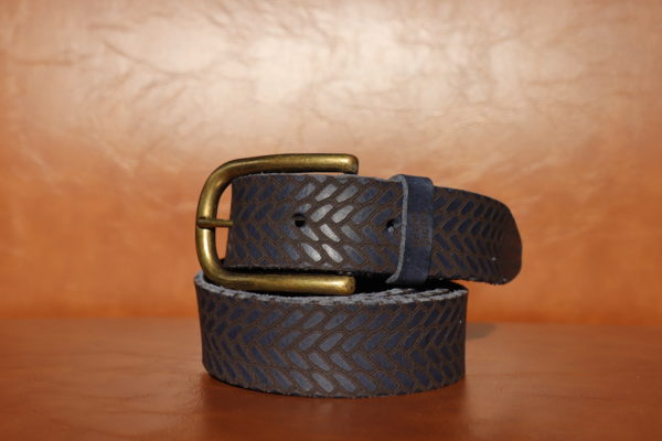 Woven Leather - Navy